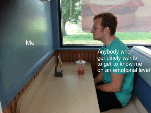 Getting To Know: Me  Anybody who  genuinely wants  to get to know me  on an emotional level