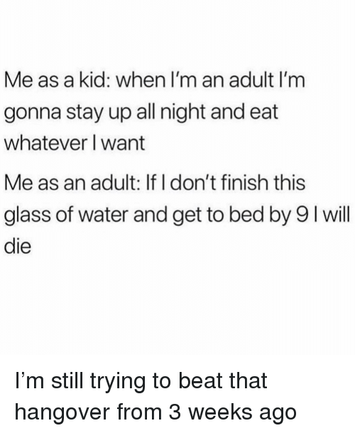 Stay Up All Night: Me as a kid: when I'm an adult I'm  gonna stay up all night and eat  whatever I want  Me as an adult: If I don't finish this  glass of water and get to bed by 9 I will  die I'm still trying to beat that hangover from 3 weeks ago