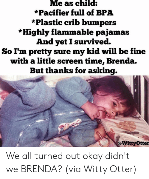 otter: Me as child:  *Pacifier full of BPA  *Plastic crib bumpers  *Highly flammable pajamas  And yetI survived.  So I'm pretty sure my kid will be fine  with a little screen time, Brenda.  But thanks for asking.  @WittyOtter We all turned out okay didn't we BRENDA?  (via Witty Otter)