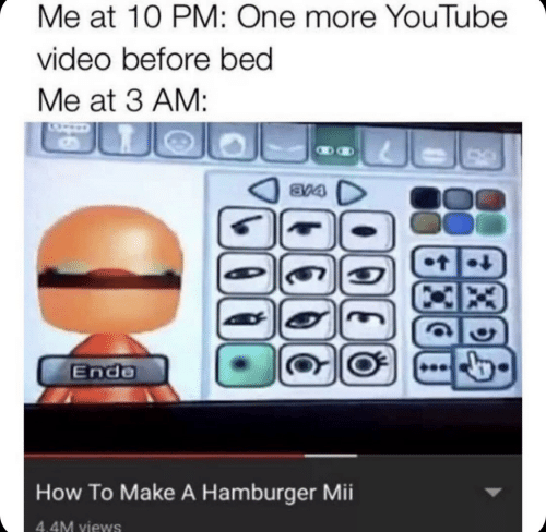 hamburger: Me at 10 PM: One more YouTube  video before bed  Me at 3 AM:  8V4  t  Ende  How To Make A Hamburger Mii  4.4M views  Xe  14