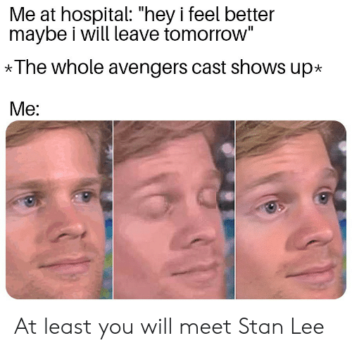 """Stan, Stan Lee, and Avengers: Me at hospital: """"hey i feel better  maybe i will leave tomorrow""""  *The whole avengers cast shows up*  Me: At least you will meet Stan Lee"""
