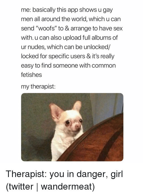 """Nudes, Sex, and Twitter: me: basically this app shows u gay  men all around the world, which u can  send """"woofs"""" to & arrange to have sex  with. u can also upload full albums of  ur nudes, which can be unlocked/  locked for specific users & it's really  easy to find someone with common  fetishes  my therapist: Therapist: you in danger, girl (twitter 