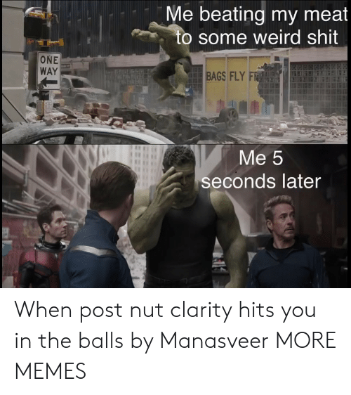 Dank, Memes, and Shit: Me beating my meat  to some weird shit  ONE  WAY  BAGS FLY F  Me 5  seconds later When post nut clarity hits you in the balls by Manasveer MORE MEMES