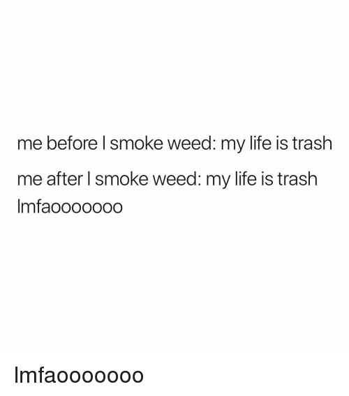 Smoke Weed: me before l smoke weed: my life is trash  me after I smoke weed: my life is trash  Imfaoooo000 lmfaooooooo