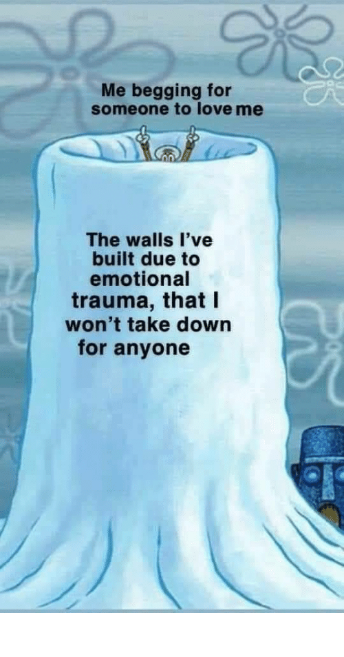 trauma: Me begging for  someone to love me  The walls l've  built due to  emotional  trauma, that I  won't take down  for anyone meirl