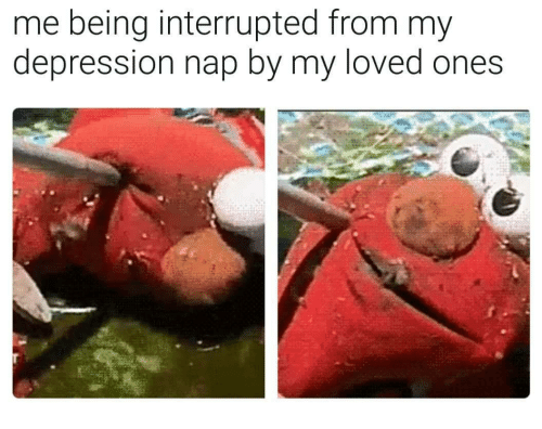 Interrupted: me being interrupted from my  depression nap by my loved ones