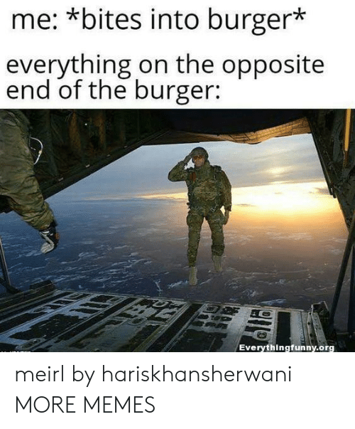 Opposite: me: *bites into burger*  everything on the opposite  end of the burger:  Everythingfunny.org meirl by hariskhansherwani MORE MEMES