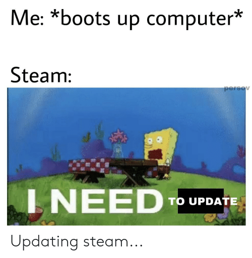 Updating Steam: Me: *boots up computer*  Steam:  persov  INEED  TO UPDATE Updating steam...