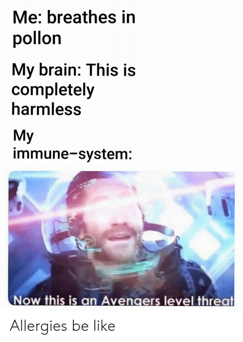 Be Like, Avengers, and Brain: Me: breathes in  pollon  My brain: This is  completely  harmless  My  immune-system:  Now this is an Avengers level threat Allergies be like