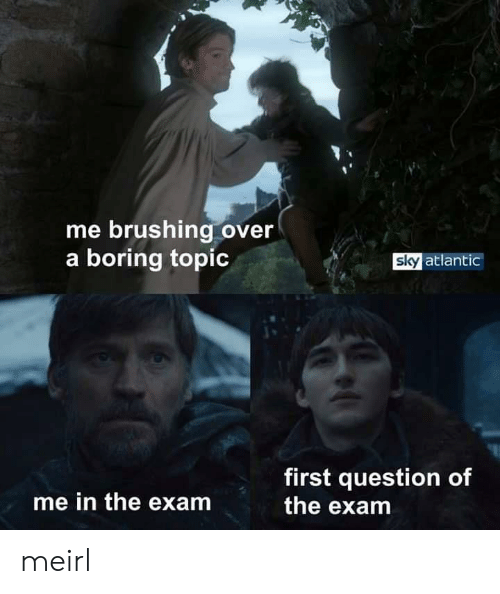 Brushing: me brushing over  a boring topic  sky atlantic  first question of  the exam  me in the exam meirl