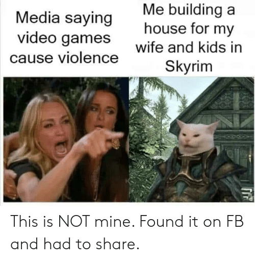 wife-and-kids: Me building a  house for my  Media saying  video games  wife and kids in  cause violence  Skyrim This is NOT mine. Found it on FB and had to share.