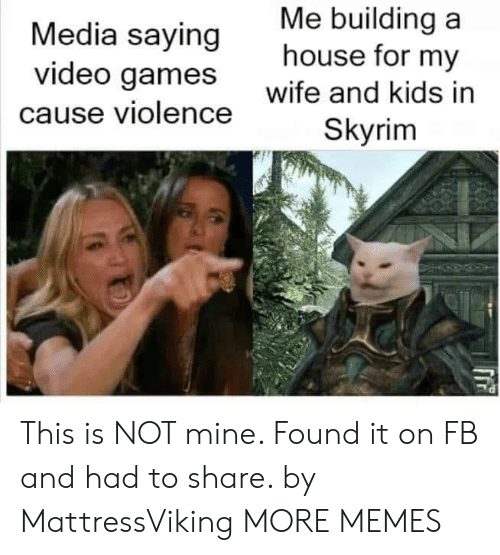 wife-and-kids: Me building a  house for my  Media saying  video games  wife and kids in  cause violence  Skyrim This is NOT mine. Found it on FB and had to share. by MattressViking MORE MEMES