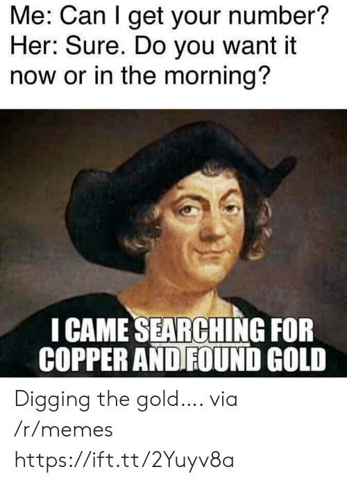 Sure Do: Me: Can I get your number?  Her: Sure. Do you want it  now or in the morning?  I CAME SEARCHING FOR  COPPER AND FOUND GOLD Digging the gold…. via /r/memes https://ift.tt/2Yuyv8a