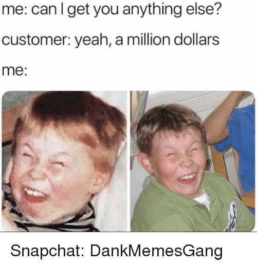 Memes, Snapchat, and Yeah: me: canlget you anything else?  customer: yeah, a million dollars  me: Snapchat: DankMemesGang
