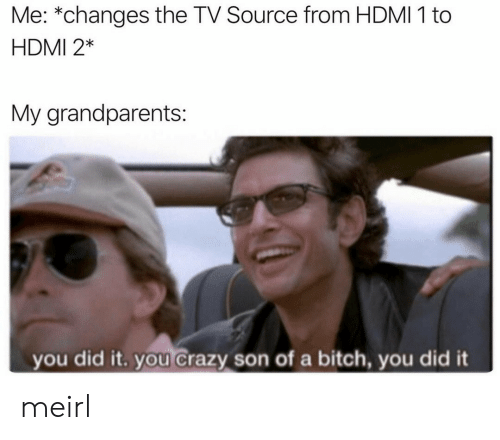 Bitch, Crazy, and MeIRL: Me: *changes the TV Source from HDMI 1 to  HDMI 2*  My grandparents:  you did it. you crazy son of a bitch, you did it meirl
