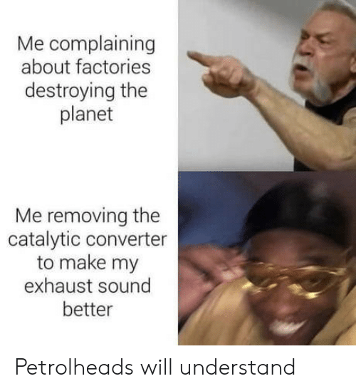 Removing: Me complaining  about factories  destroying the  planet  Me removing the  catalytic converter  to make my  exhaust sound  better Petrolheads will understand