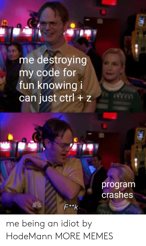 Crashes: me destroying  my code for  fun knowing i  can just ctrl + z  program  crashes  F**k me being an idiot by HodeMann MORE MEMES