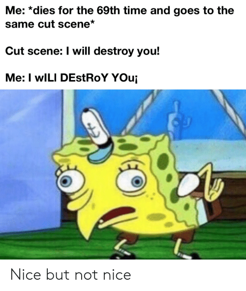 not nice: Me: *dies for the 69th time and goes to the  same cut scene*  Cut scene: I will destroy you!  Me: I wILI DEstRoY YOui Nice but not nice
