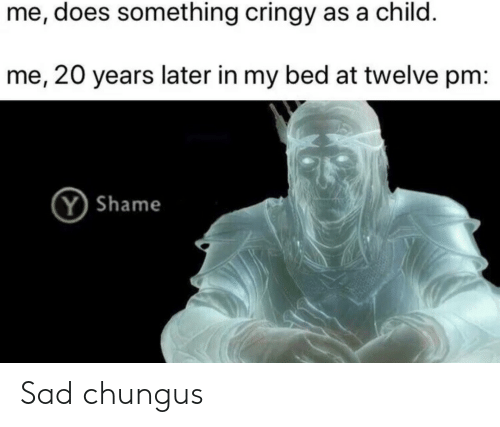 Chungus: me, does something cringy as a child.  me, 20 years later in my bed at twelve pm:  Y Shame Sad chungus