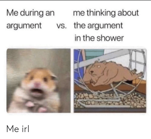 Shower, Irl, and Me IRL: Me during an  me thinking about  vs. the argument  argument  in the shower Me irl