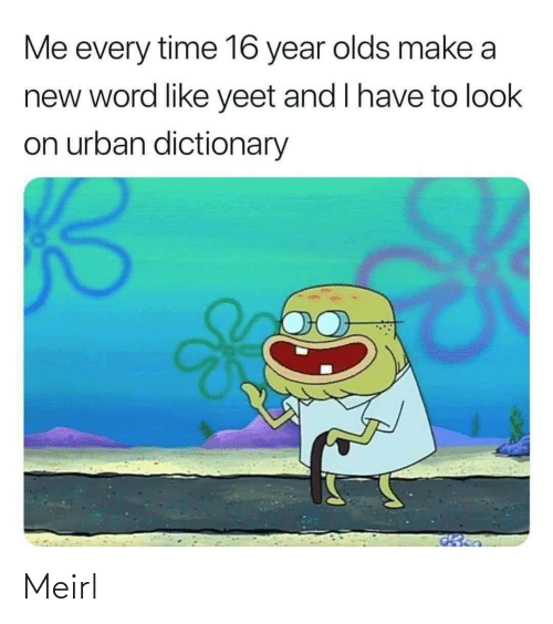 make a: Me every time 16 year olds make a  new word like yeet and I have to look  on urban dictionary Meirl