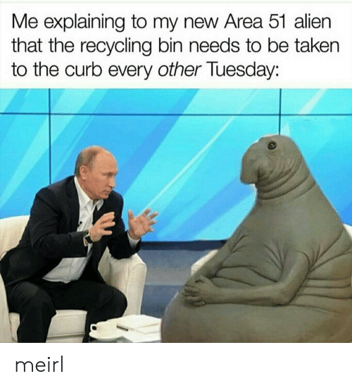 Taken, Alien, and MeIRL: Me explaining to my new Area 51 alien  that the recycling bin needs to be taken  the curb every other Tuesday: meirl