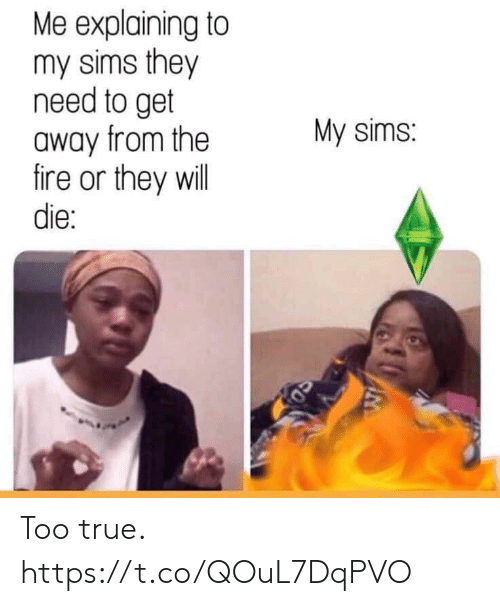 Sims: Me explaining to  my sims they  need to get  away from the  fire or they will  die:  My sims: Too true. https://t.co/QOuL7DqPVO