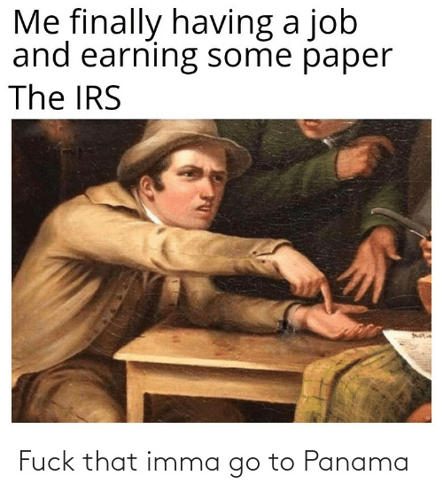 irs: Me finally having a job  and earning some paper  The IRS Fuck that imma go to Panama