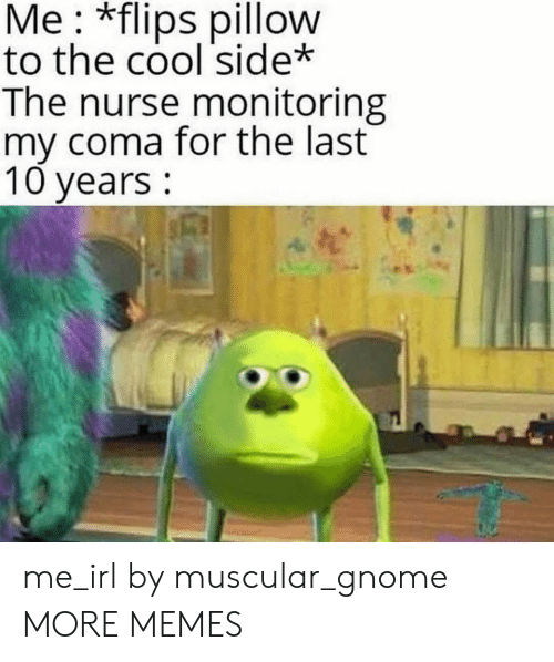 coma: Me: *flips pillow  to the cool side*  The nurse monitoring  my coma for the last  10 years: me_irl by muscular_gnome MORE MEMES