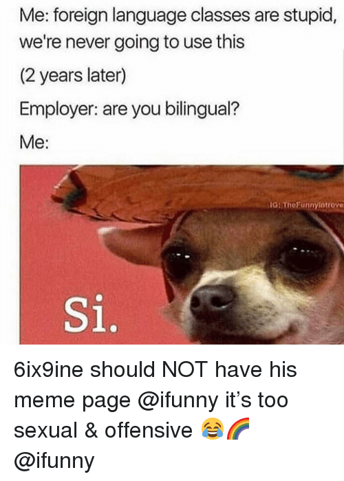 Meme, Memes, and Never: Me: foreign language classes are stupid,  we're never going to use this  (2 years later)  Employer: are you bilingual?  Me:  G ThoFunnylotrove  Si. 6ix9ine should NOT have his meme page @ifunny it's too sexual & offensive 😂🌈 @ifunny
