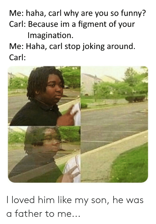you so funny: Me: haha, carl why are you so funny?  Carl: Because im a figment of your  Imagination  Me: Haha, carl stop joking around.  Carl: I loved him like my son, he was a father to me...