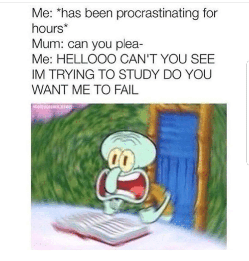 Fail, Been, and Can: Me: *has been procrastinating for  hours*  Mum: can you plea-  Me: HELLOOO CAN'T YOU SEE  IM TRYING TO STUDY DO YOU  WANT ME TO FAIL