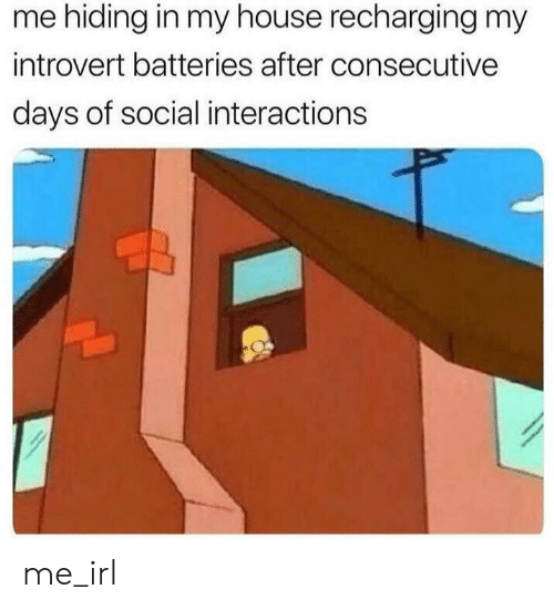 Introvert, My House, and House: me hiding in my house recharging my  introvert batteries after consecutive  days of social interactions me_irl