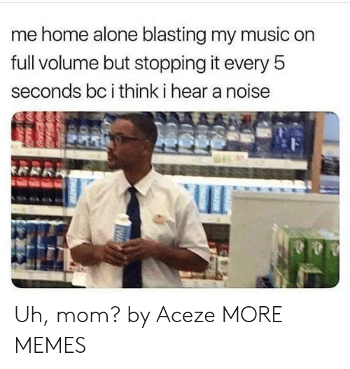 stopping: me home alone blasting my music on  full volume but stopping it every 5  seconds bc i think i hear a noise Uh, mom? by Aceze MORE MEMES