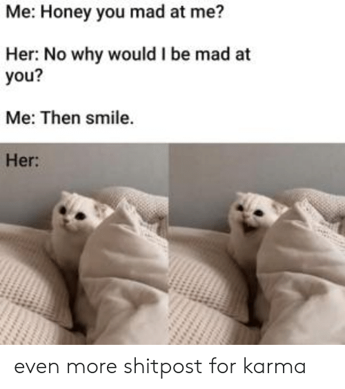 Karma, Smile, and Mad: Me: Honey you mad at me?  Her: No why would I be mad at  you?  Me: Then smile.  Her: even more shitpost for karma