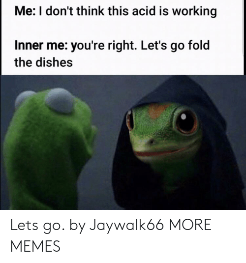 Dank, Memes, and Target: Me: I don't think this acid is working  Inner me: you're right. Let's go fold  the dishes Lets go. by Jaywalk66 MORE MEMES