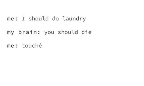 Laundry, Brain, and Touche: me I should do laundry  my brain: you should die  me: touché