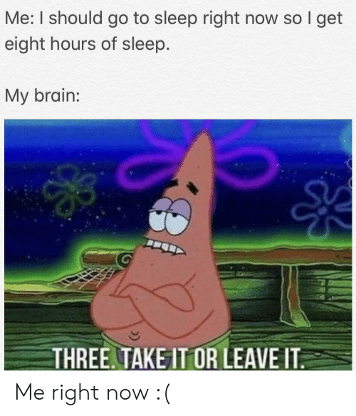 I Should Go: Me: I should go to sleep right now so I get  eight hours of sleep.  My brain:  THREE. TAKE IT OR LEAVE IT Me right now :(