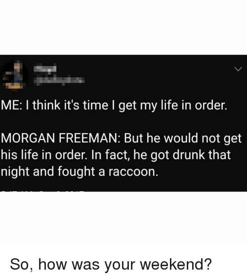 Drunk, Life, and Memes: ME: I think it's time I get my life in order.  MORGAN FREEMAN: But he would not get  his life in order. In fact, he got drunk that  night and fought a raccoon. So, how was your weekend?