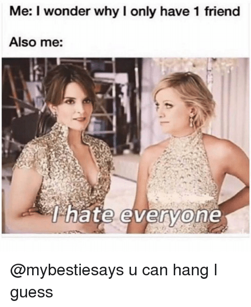 Guess, Girl Memes, and Wonder: Me: I wonder why I only have 1 friend  Also me: @mybestiesays u can hang I guess