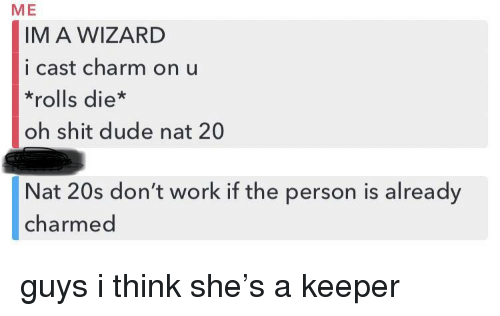 Dude, Shit, and Work: ME  IM A WIZARD  i cast charm on u  *rolls die*  oh shit dude nat 20  Nat 20s don't work if the person is already  charmed guys i think she's a keeper