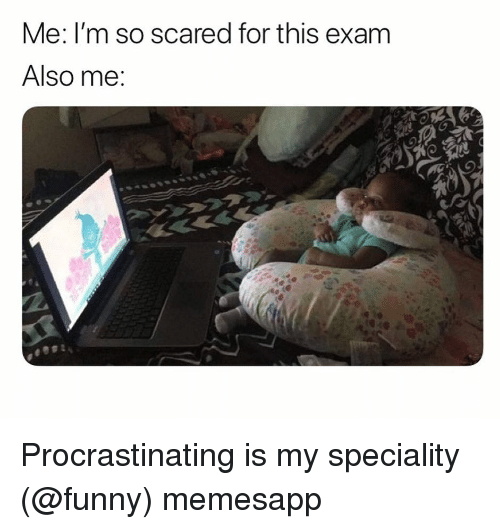 Funny, Memes, and 🤖: Me: I'm so scared for this exam  Also me Procrastinating is my speciality (@funny) memesapp