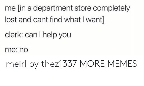 I Help: me [in a department store completely  lost and cant find what I want]  clerk: can I help you  me: no meirl by thez1337 MORE MEMES