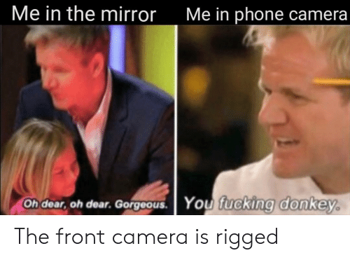 Front Camera: Me in the mirror  Me in phone camera  Oh dear, oh dear. Gorgeous.  You fucking donkey. The front camera is rigged