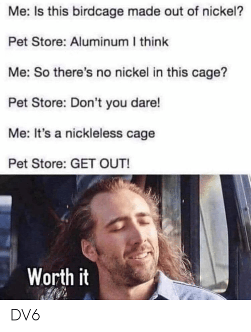 Memes, 🤖, and Nickel: Me: Is this birdcage made out of nickel?  Pet Store: Aluminum I think  Me: So there's no nickel in this cage?  Pet Store: Don't you dare!  Me: It's a nickleless cage  Pet Store: GET OUT!  Worth it DV6