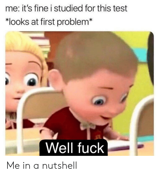 Fuck, Test, and First: me: it's fine i studied for this test  *looks at first problem*  Well fuck Me in a nutshell