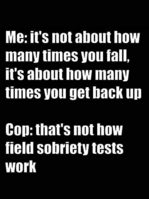 Fall, How Many Times, and Memes: Me: it's not about how  many times you fall,  it's about how many  times you get back up  Cop: that's not how  field sobriety tests  work