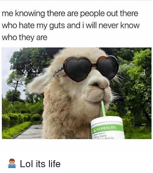 Life, Lol, and Memes: me knowing there are people out there  who hate my guts and i will never know  who they are  HERBALIFE. 🤷🏽♂️ Lol its life