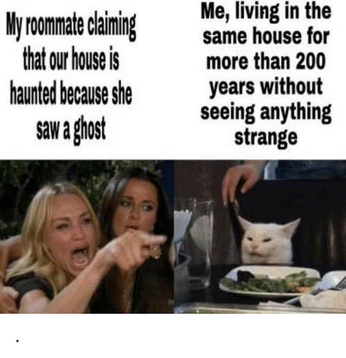 Roomate: Me, living in the  same house for  more than 200  years without  seeing anything  strange  My roomate claiming  that our house is  haunted because she  saw a ghost .