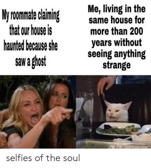 Roomate: Me, living in the  same house for  more than 200  years without  seeing anything  strange  My roomate claiming  that our house is  haunted because she  saw a ghost selfies of the soul